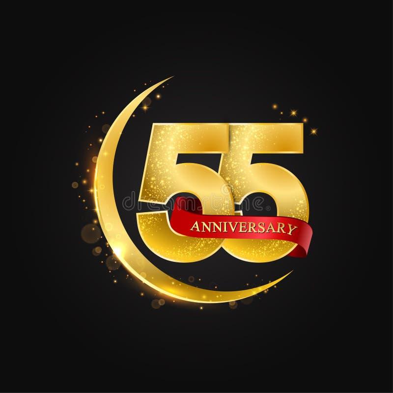 Eid al Adha 55 jaar verjaardags Het patroon met Arabische gouden, gouden halve maan en schittert stock illustratie