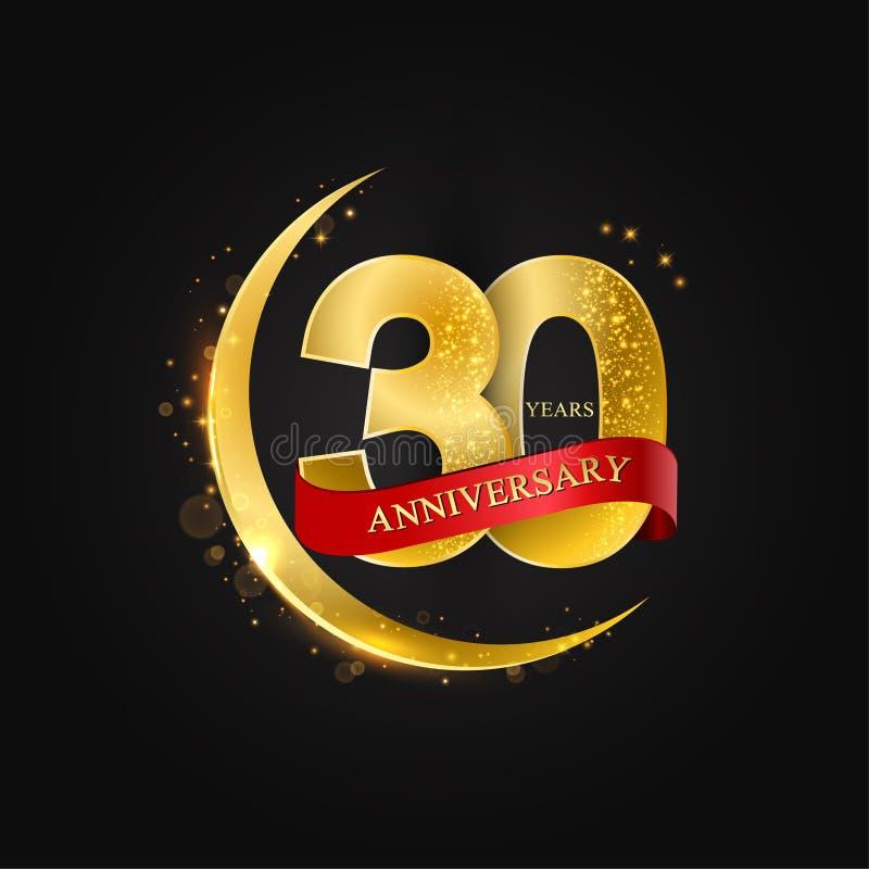 Eid al Adha 30 Jahre Jahrestag Muster mit arabischem Goldenem, Goldhalbmond und Funkeln stock abbildung