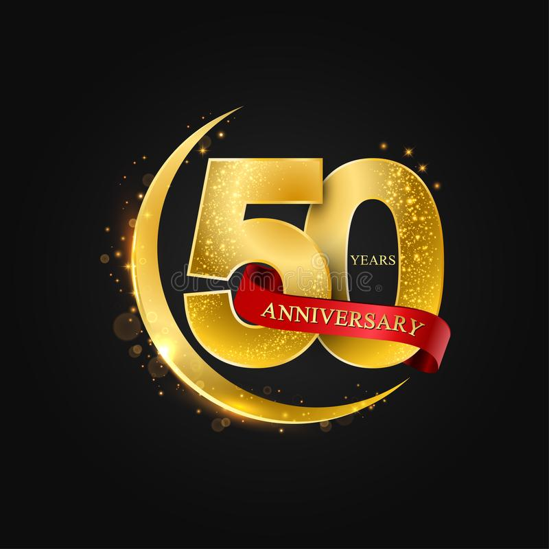 Eid al Adha 50 Jahre Jahrestag Muster mit arabischem Goldenem, Goldhalbmond und Funkeln lizenzfreie abbildung