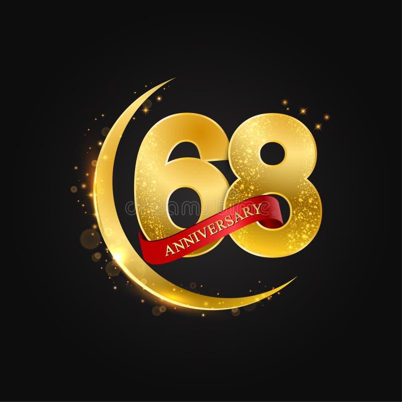 Eid al Adha 68 Jahre Jahrestag Muster mit arabischem Goldenem, Goldhalbmond und Funkeln lizenzfreie abbildung