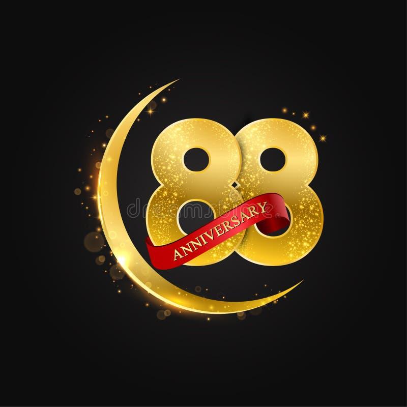 Eid al Adha 88 Jahre Jahrestag Muster mit arabischem Goldenem, Goldhalbmond und Funkeln lizenzfreie abbildung