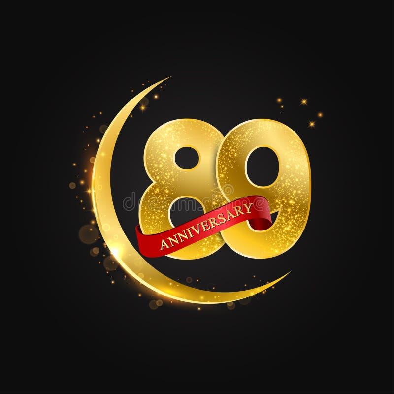 Eid al Adha 89 Jahre Jahrestag Muster mit arabischem Goldenem, Goldhalbmond und Funkeln stock abbildung