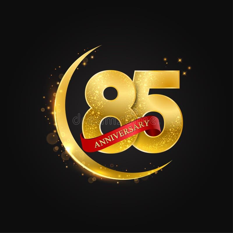 Eid al Adha 85 Jahre Jahrestag Muster mit arabischem Goldenem, Goldhalbmond und Funkeln vektor abbildung