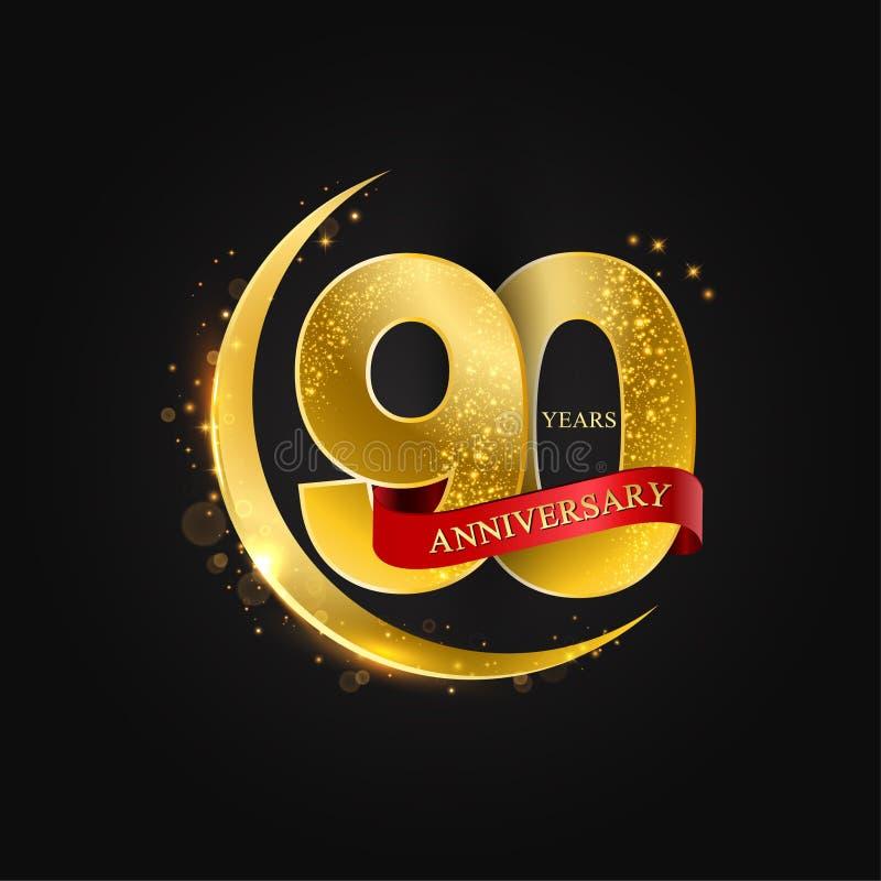 Eid al Adha 90 Jahre Jahrestag Muster mit arabischem Goldenem, Goldhalbmond und Funkeln vektor abbildung