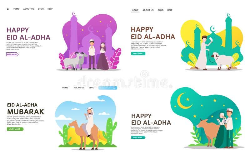 Eid al Adha lądowania strony pojęcie royalty ilustracja