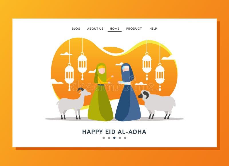 Eid al Adha lądowania strony pojęcie ilustracja wektor