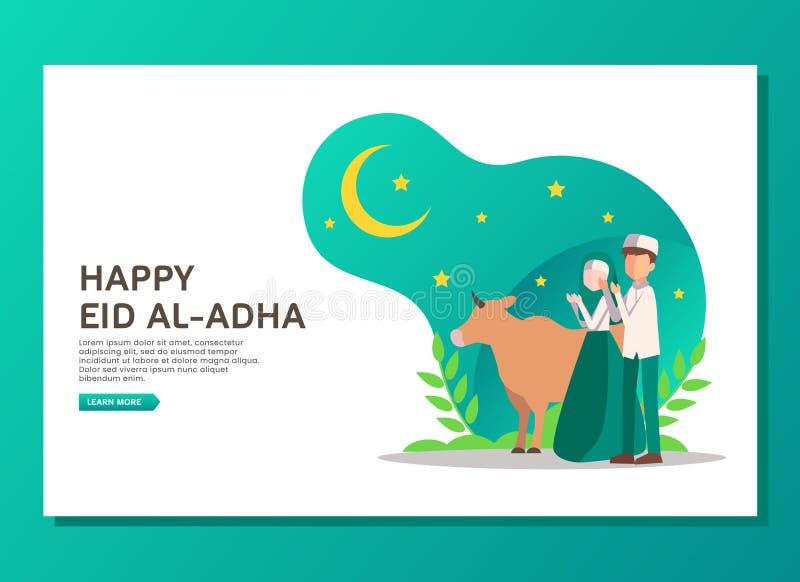 Eid al Adha lądowania strony pojęcie ilustracji