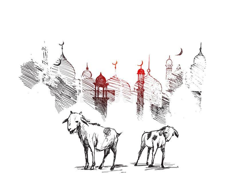 Eid al-Adha met Geit op Moskeesilhouet, glanzende Woestijn backgr stock illustratie