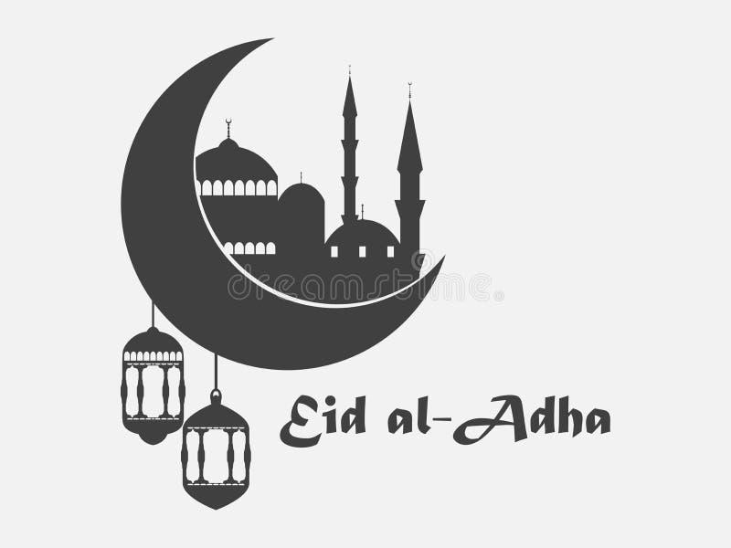 Eid al-Adha Moské, halvmånformig och lykta Kurban Bajram muslimfestival av offret ramadan kareem vektor royaltyfri illustrationer