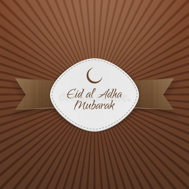 Eid al-Adha Mubarak Badge avec le ruban illustration libre de droits