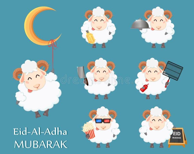 Eid al Adha Mubarak-groetkaart met grappige ram royalty-vrije illustratie