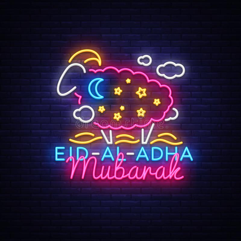 Eid Al Adha Mubarak Vector-illustratie voor de viering van Moslim communautair festival Neonstijl, Eid al-Adha E stock illustratie