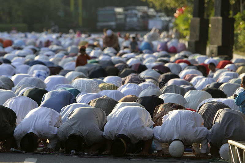 Eid al Adha prayers. Muslims are Eid al-Adha prayers in a square in the city of Solo, Central Java, Indonesia stock images