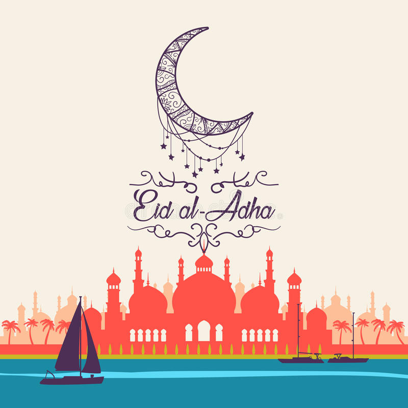 Eid al-Adha, ul-Adha Mubarak de Eid Kurban Bayrami, Kurban Bajram ilustração royalty free
