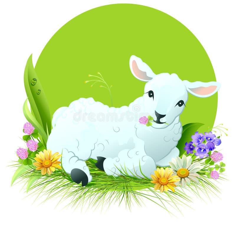 Eid Al Adha Wit lam die op gras liggen royalty-vrije illustratie