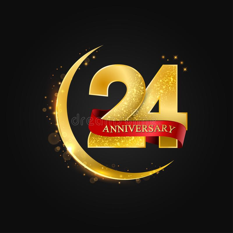 24 years anniversary.Pattern with arabic golden, gold half moon and glitter. Eid al Adha 24 years anniversary.Pattern with arabic golden, gold half moon and