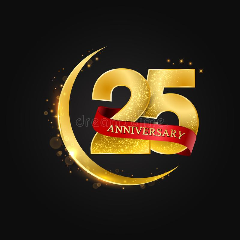 Eid al Adha 25 years anniversary.Pattern with arabic golden, gold half moon and glitter. stock illustration