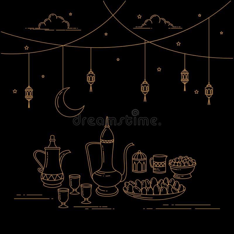 Eid Al-Fitr Celebration Line-art. royalty-vrije illustratie
