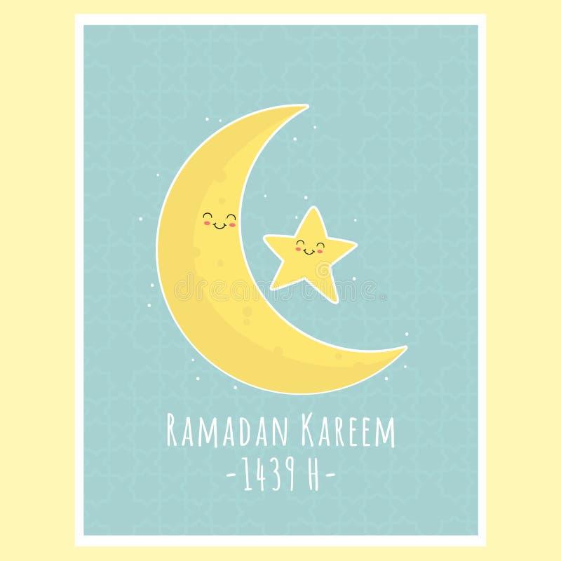 Eid Al-Fitr Moon and Star, Ramadan Kareem Greeting Card Vector Design. Eid Al-Fitr Ramadan Kareem greeting card, cute moon and star. Printable muslim celebration vector illustration