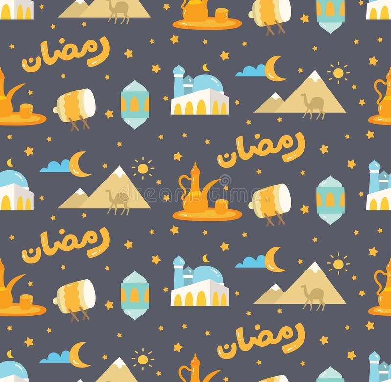 Eid-Al fitr oder Ramadan-Feierkarikaturgekritzelhintergrund f?r lizenzfreie abbildung