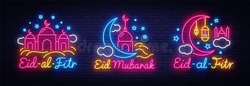 Eid al-Fitr projekta świąteczny karciany inkasowy szablon w nowożytnym trendu stylu Neonowy stylu, Islamskiego i Arabskiego tło d royalty ilustracja