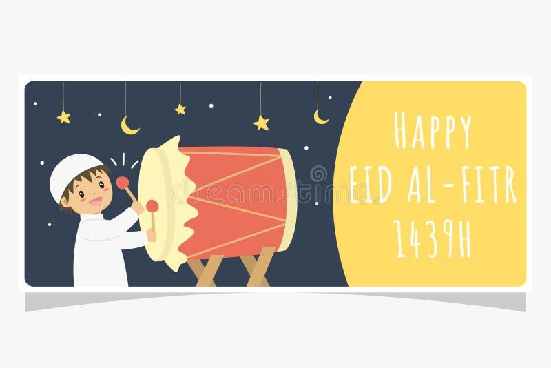 Eid Al Fitr Ramadan sztandar, Muzułmańska chłopiec Uderza Bedug Wektorowego projekt ilustracja wektor