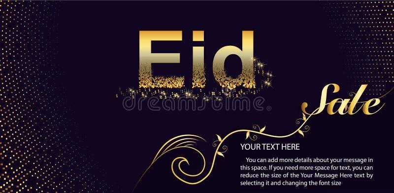 Eid Al Fitr Sale Vector Design voor Banner en Affiche Het mooie ontwerp van de groetkaart met modieuze teksten Eid ul-Adha vector illustratie