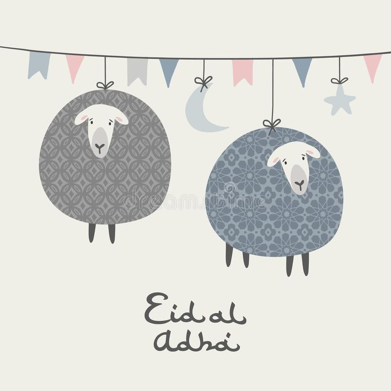 Eid Aladha贺卡,邀请 r 与垂悬的月亮,星,旗子的串 装饰绵羊 库存例证