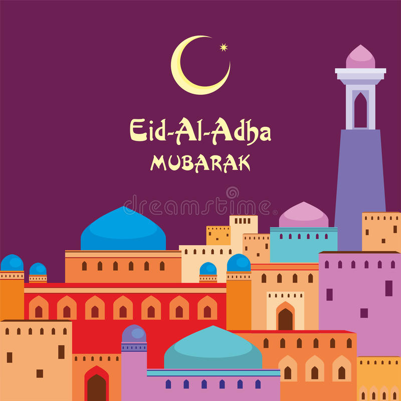 Eid aladha mubarak vektor illustrationer