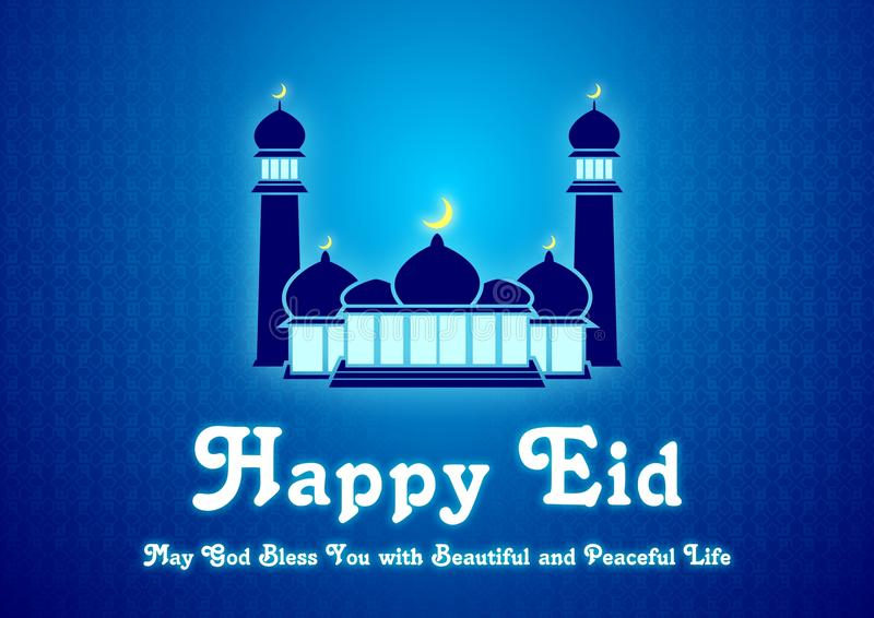 Eid blu e Ramadan Greeting Card Illustration Ready da usare illustrazione di stock