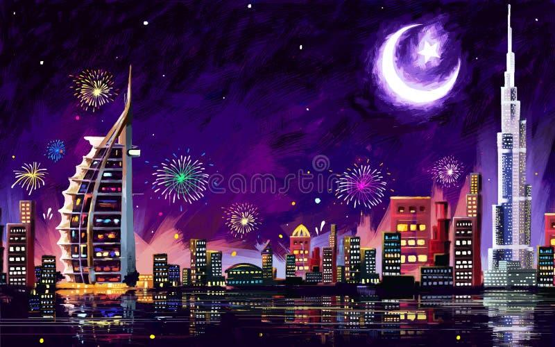 Eid Celebration Dubai ilustração do vetor