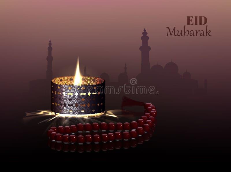 Eid en Ramadanthemaachtergrond met een brandende lamp en een rozentuin stock illustratie