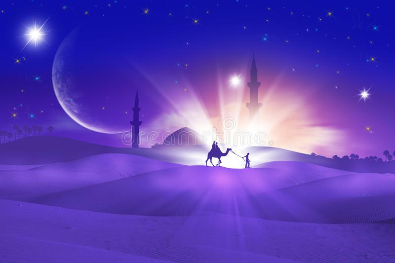 Eid greeting. A camel on a arabian desert during the holy month of ramadan