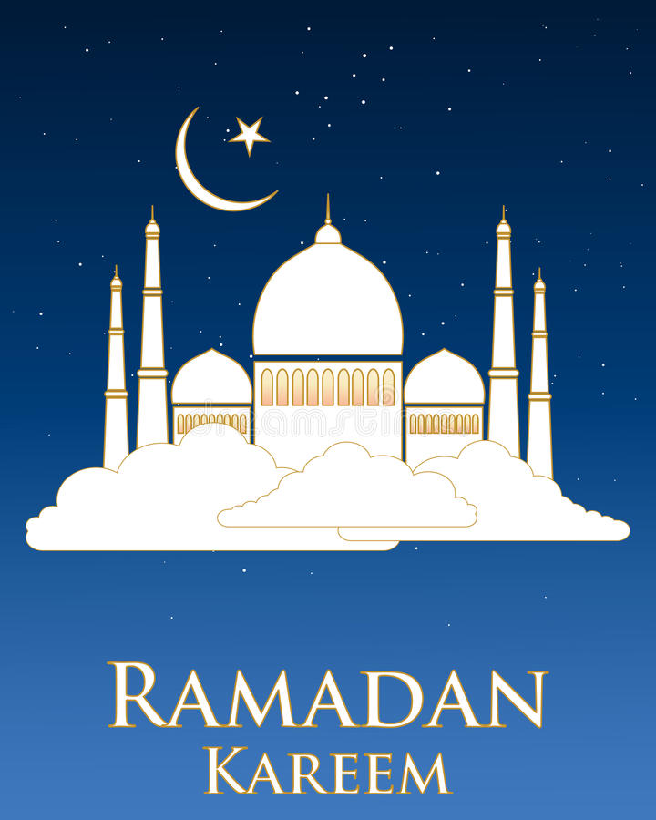 Eid holidays. An illustration of a ramadan greeting card with a white mosque with gold trim floating on a white cloud with stars and moon on a dark nlue stock illustration