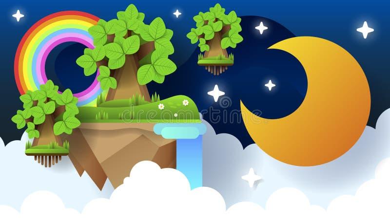 Eid穆巴拉克贺卡例证,斋月kareem祝愿横幅的,海报,背景伊斯兰教的节日的动画片传染媒介 向量例证