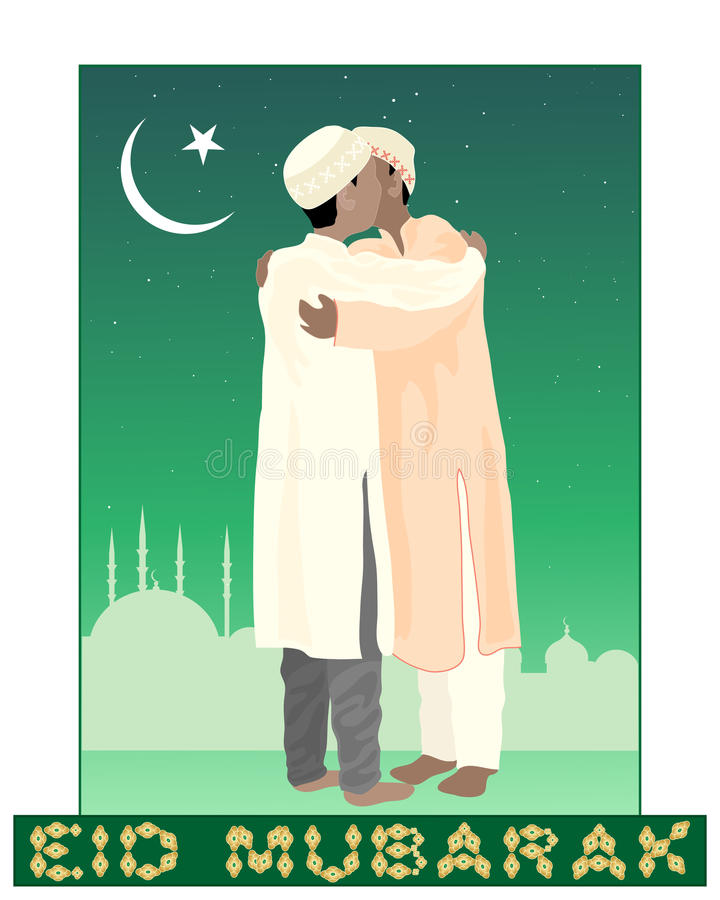 Eid mubarak. An illustration of of two muslims greeting each other in the festival of eid mubarak with mosque background under a starry sky and crescent moon vector illustration