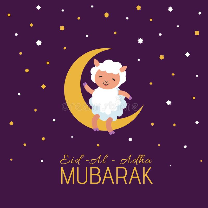 Eid mubarak arabian festival vector poster with cute cartoon sheep royalty free illustration