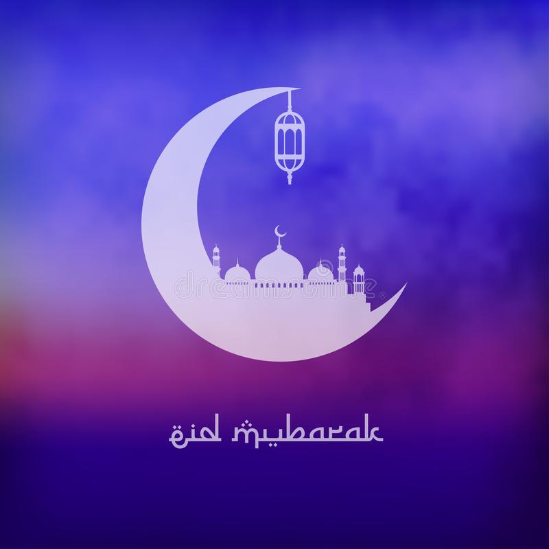 Eid mubarak background image. cloudy with moon and mosque stock illustration