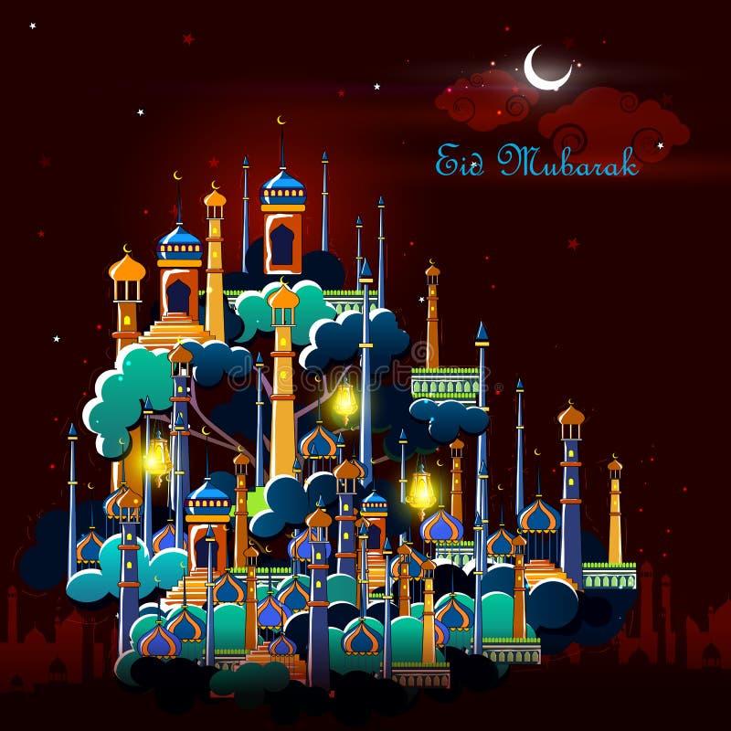 Eid Mubarak bakgrund stock illustrationer