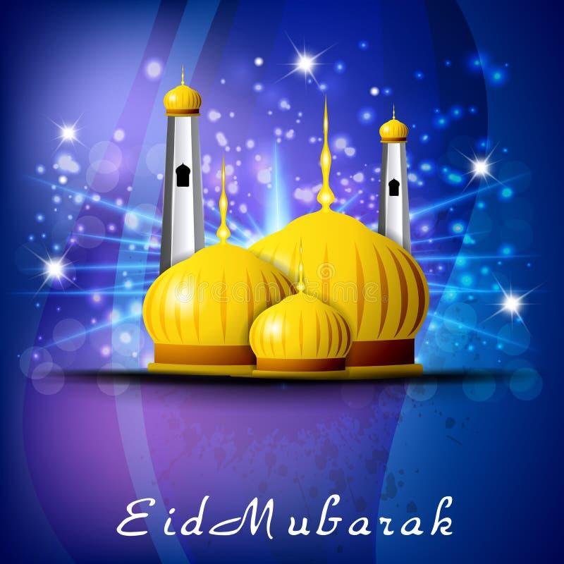 Eid Mubarak bakgrund med den guld- moskén vektor illustrationer