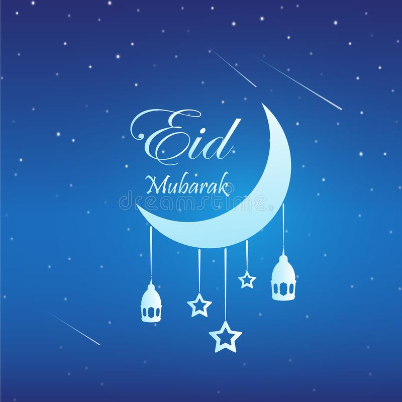 Eid Mubarak bakgrund med m?nen och stj?rnor royaltyfri illustrationer