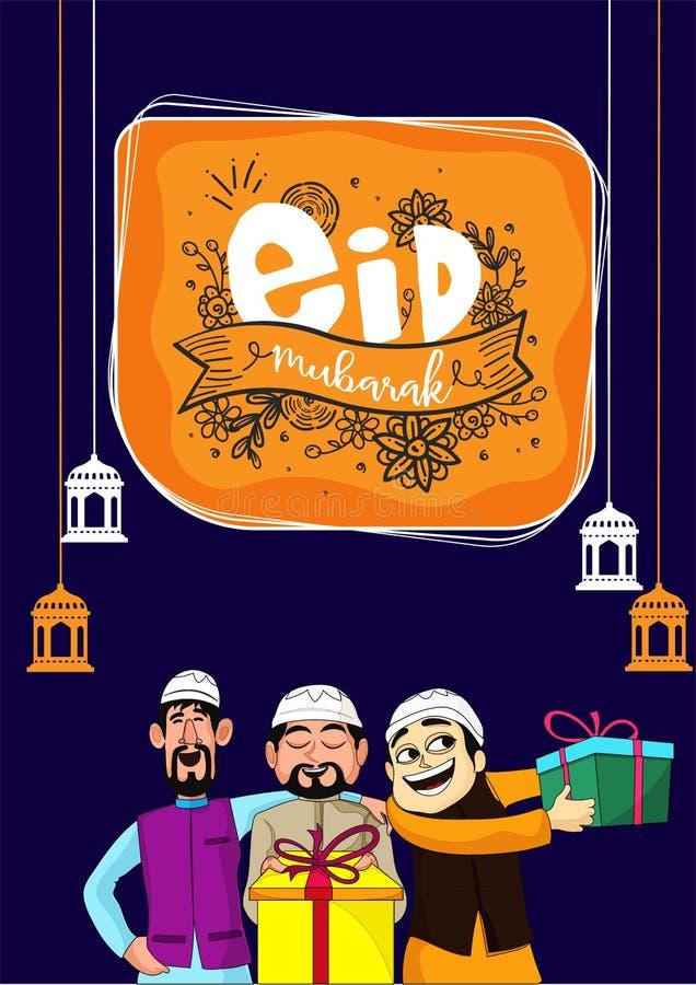 Eid Mubarak berömbegrepp med hängande lyktor och lyckligt stock illustrationer
