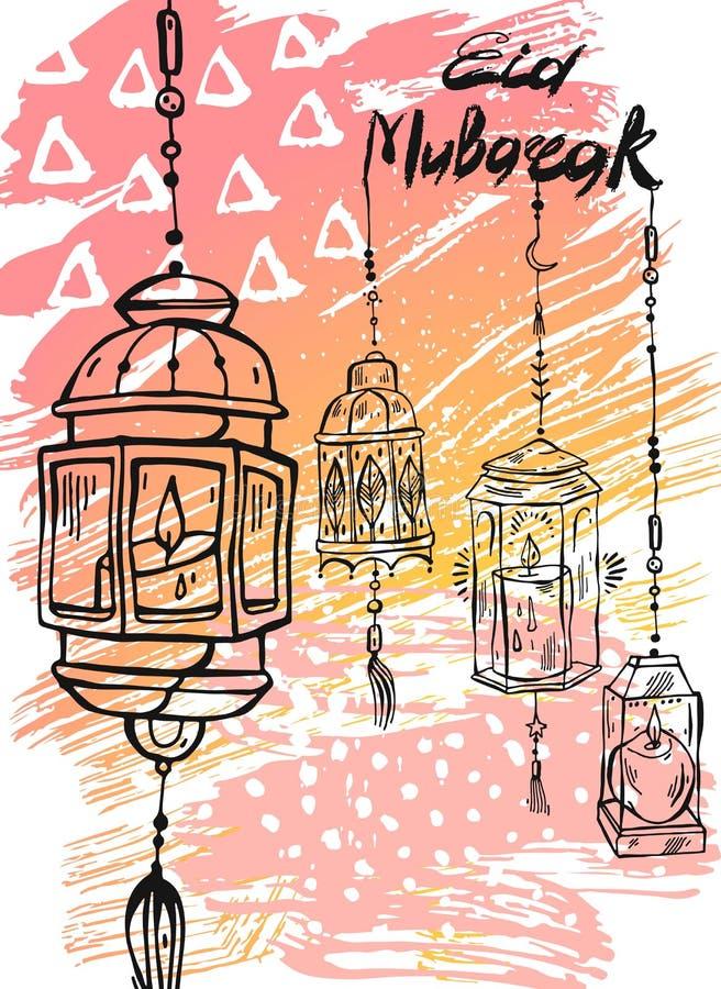 Eid Mubarak-Beschriftung, abstrakter Grußhintergrund des Handabgehobenen betrages Eid Background stock abbildung
