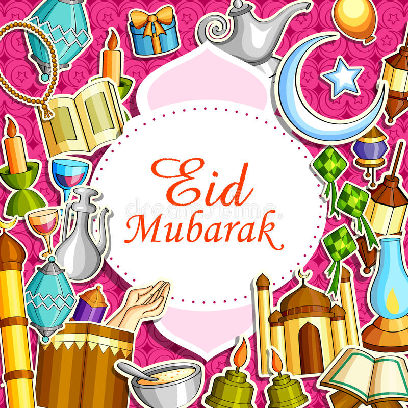 Eid Mubarak Blessing voor Eid-achtergrond stock illustratie