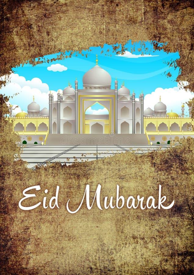 Eid Mubarak Brush The Dirt Ramadhan elegant Grunge och guldhälsningkort med moskébilden stock illustrationer