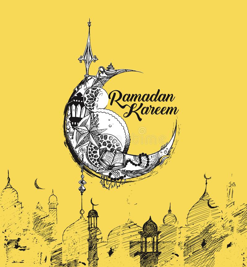 Eid Mubarak celebration- calligraphy stylish lettering Ramadan stock illustration