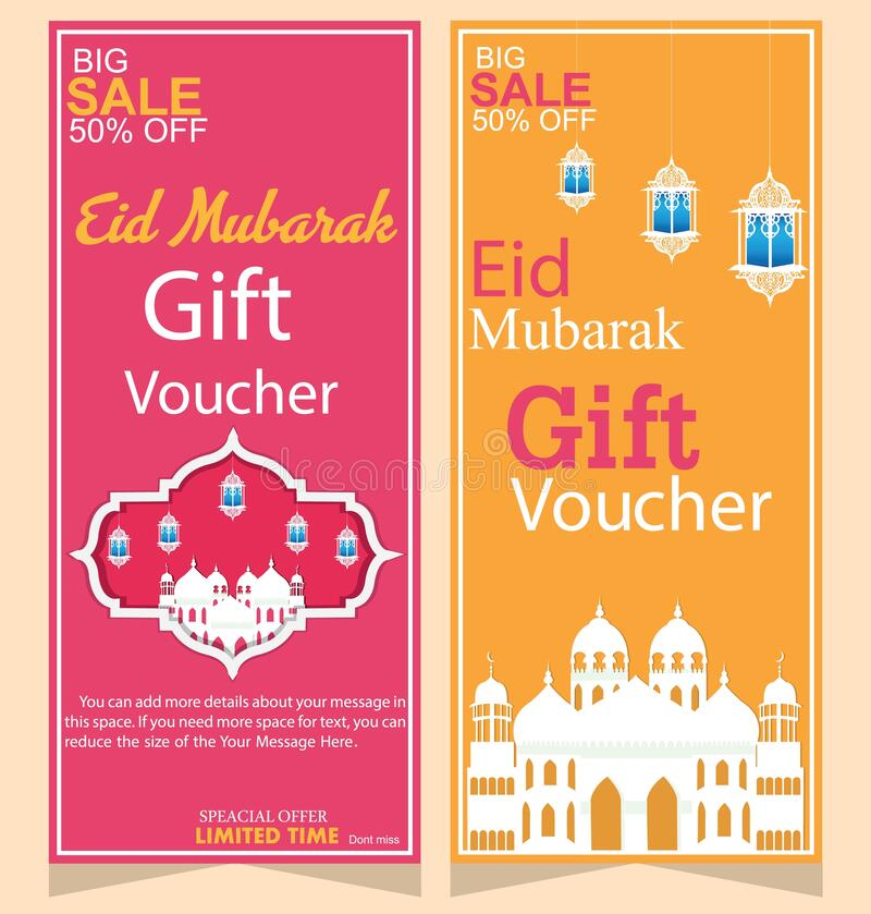 eid mubarak celebration of pink and yellow gift voucher in