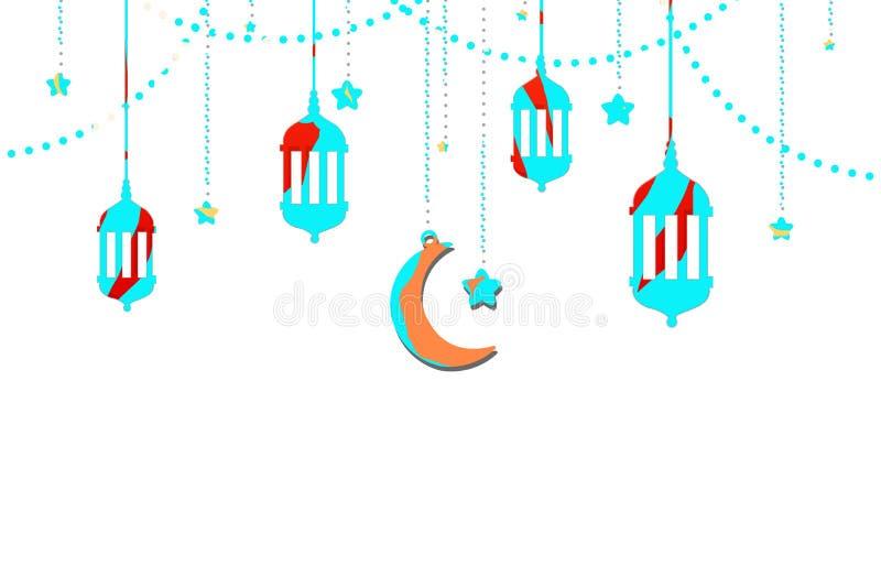 Eid Mubarak con la lámpara iluminada ejemplo del diseño de la tarjeta de felicitación del día de fiesta de Eid Mubarak Islamic stock de ilustración