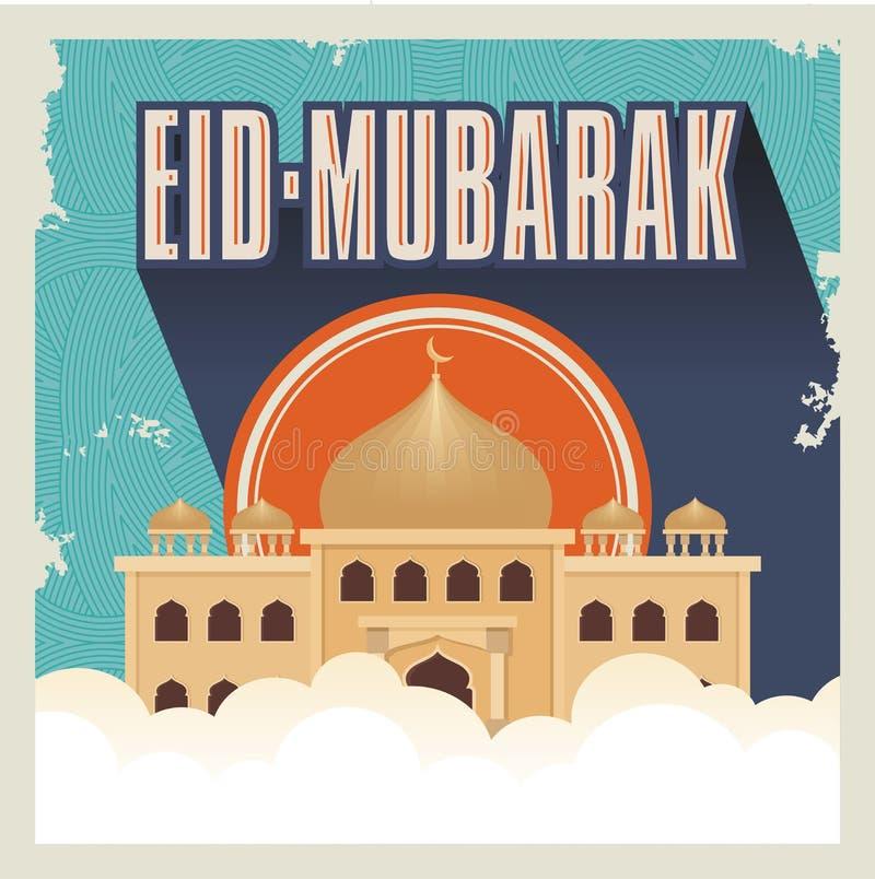 Eid Mubarak con la mezquita de la historieta libre illustration
