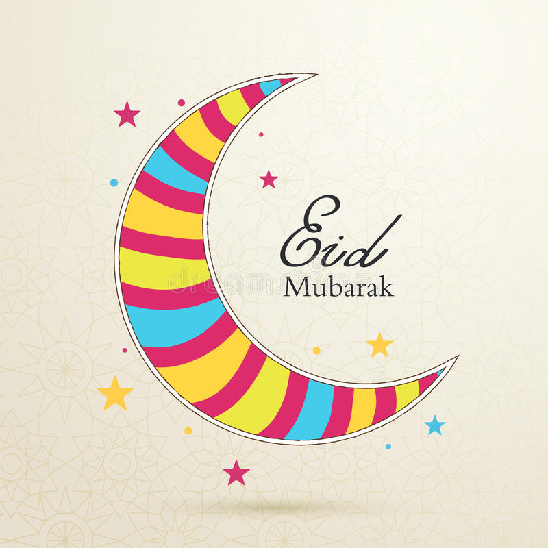 Eid Mubarak-concept met kleurrijke maan op lichte achtergrond met royalty-vrije illustratie
